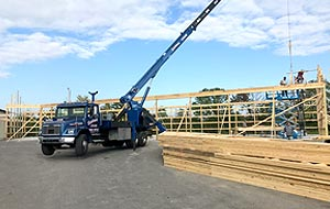 28 ton boom truck setting wooden trusses for a new pole barn in Grove City, Ohio.