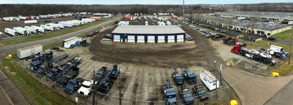 Aerial view of Eastland Crane's 20 acres of secure fenced storage.